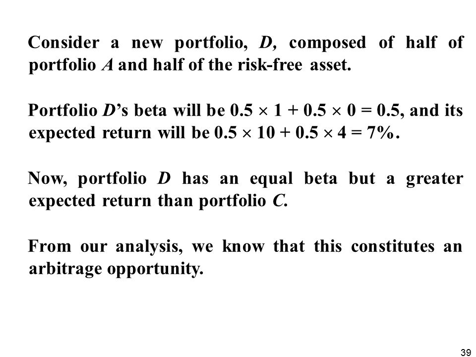 Consider a new portfolio, D, composed of half of portfolio A and half of the risk-free asset.