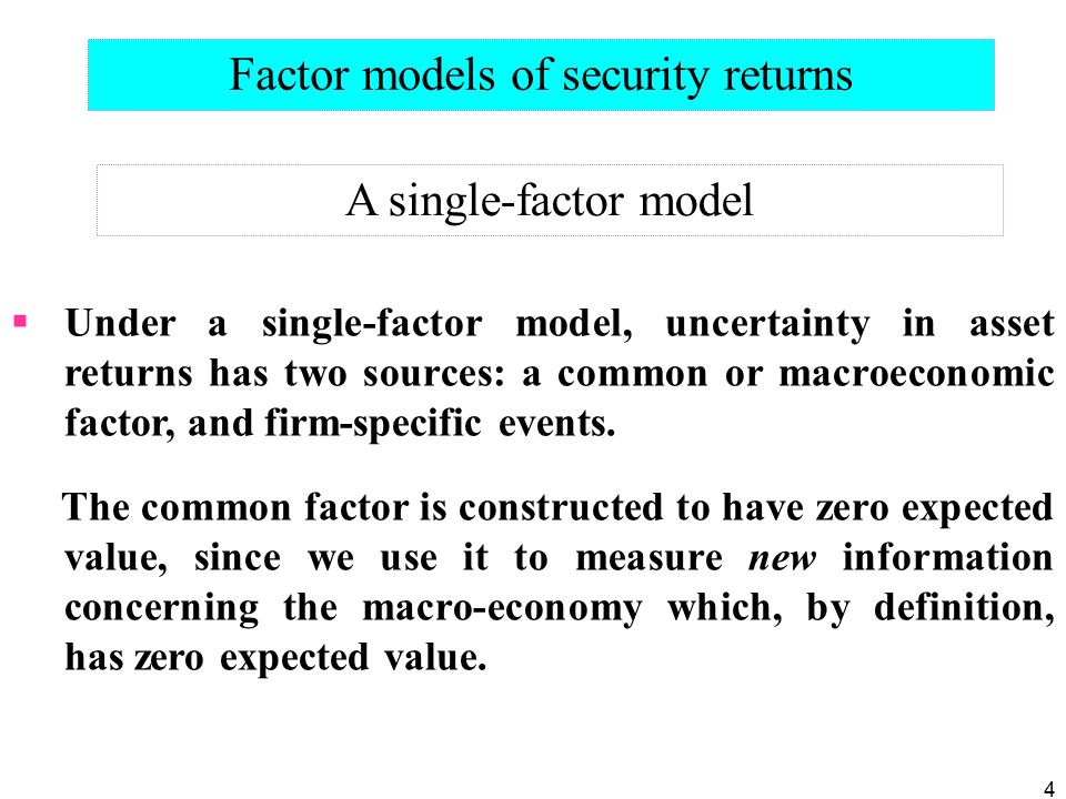 Factor models of security returns