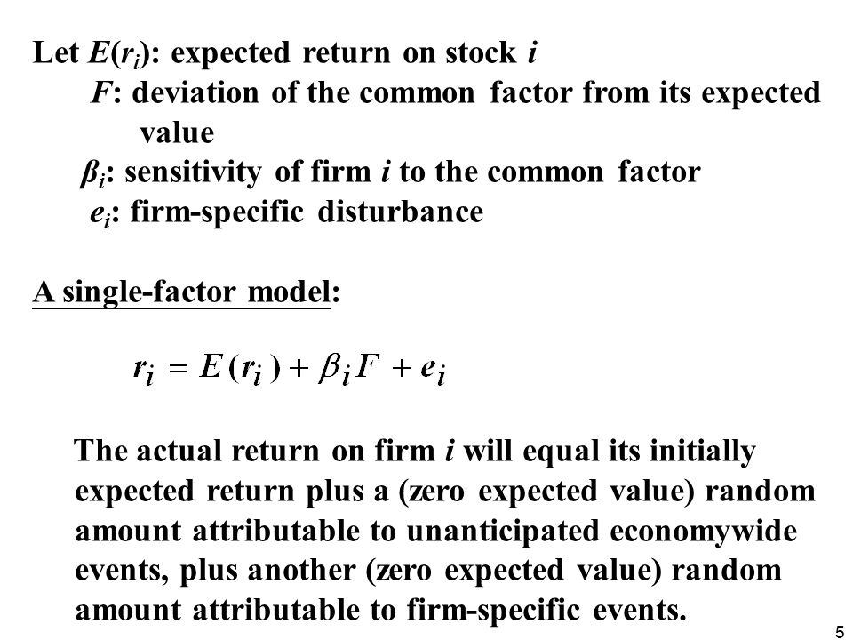 Let E(ri): expected return on stock i