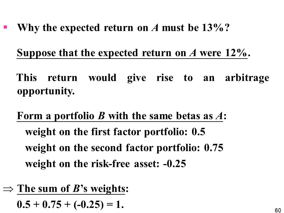 Why the expected return on A must be 13%