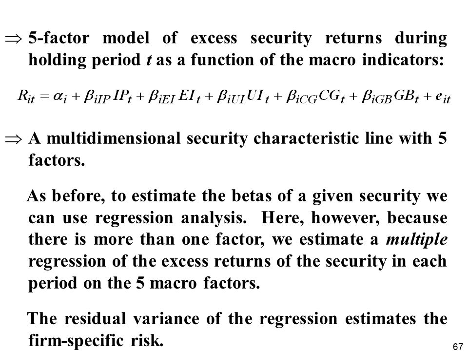 5-factor model of excess security returns during holding period t as a function of the macro indicators: