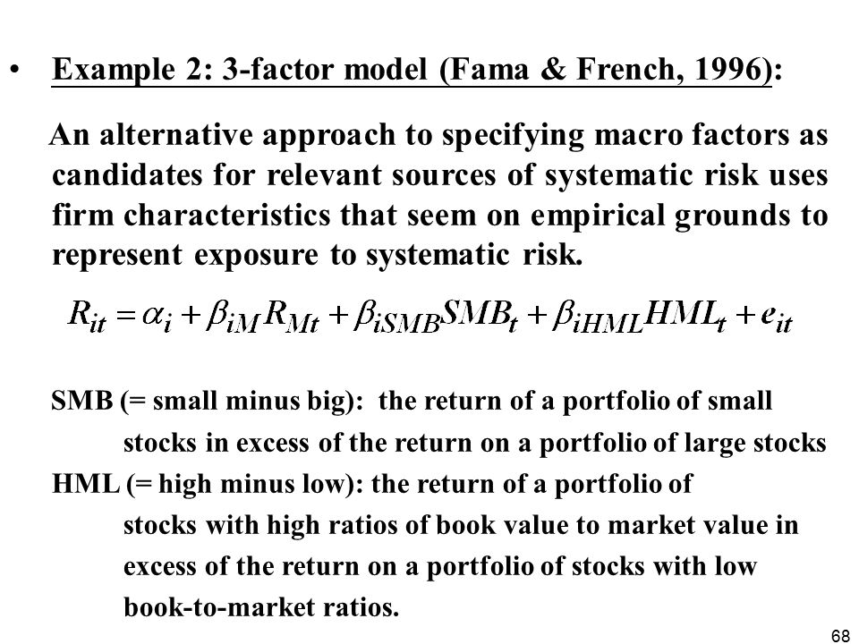 Example 2: 3-factor model (Fama & French, 1996):