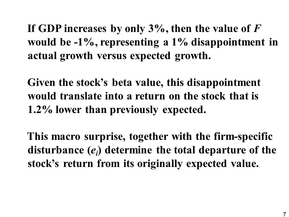 If GDP increases by only 3%, then the value of F would be -1%, representing a 1% disappointment in actual growth versus expected growth.