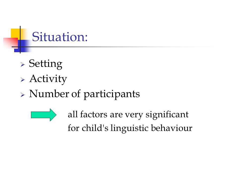 Situation: Setting Activity Number of participants