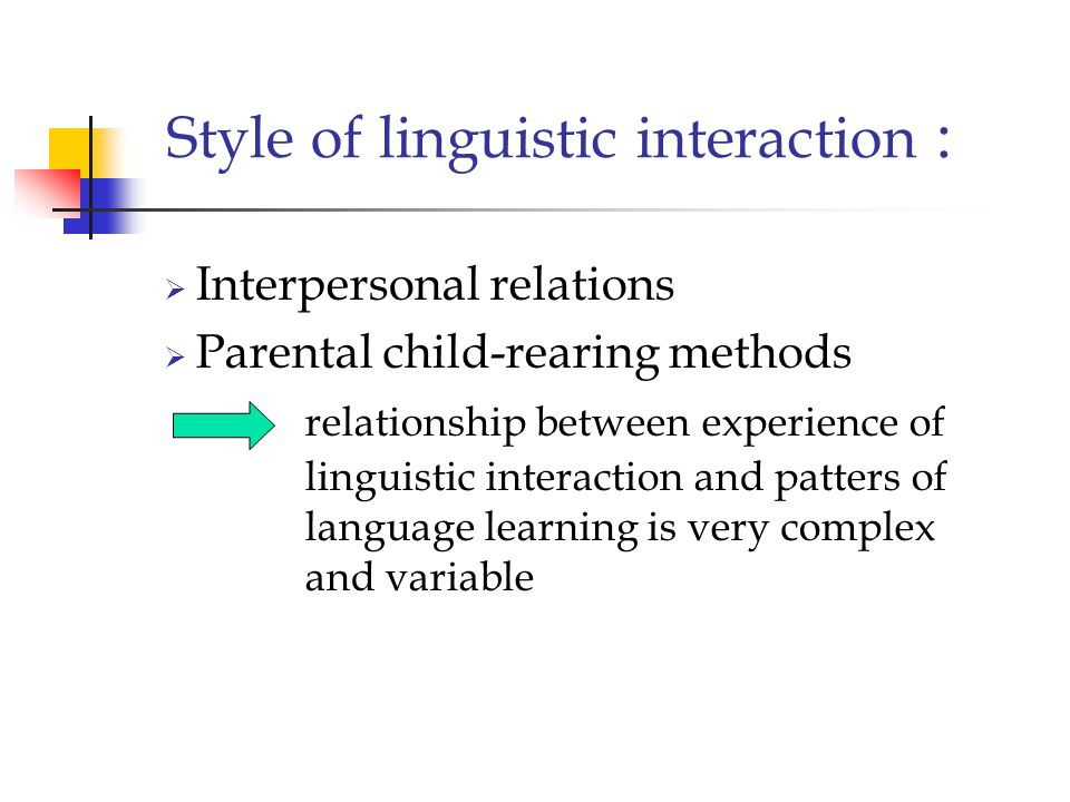 Style of linguistic interaction :