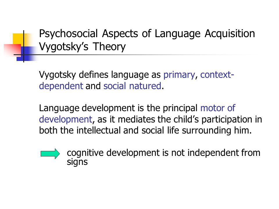 Psychosocial Aspects of Language Acquisition Vygotsky's Theory