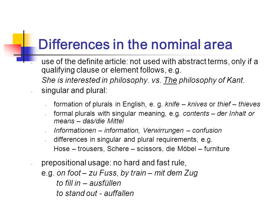 Differences in the nominal area