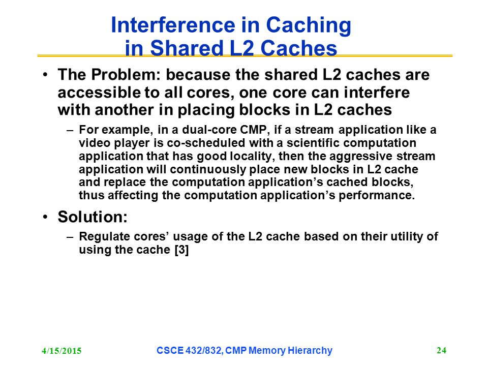 Interference in Caching in Shared L2 Caches