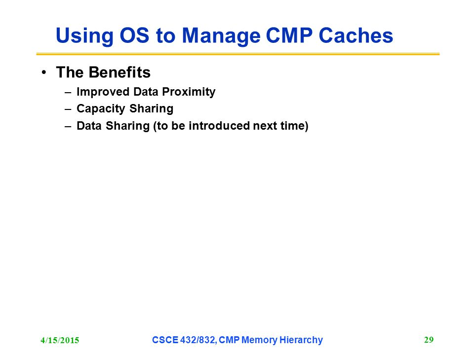 Using OS to Manage CMP Caches