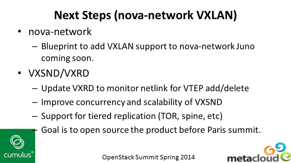 Next Steps (nova-network VXLAN)