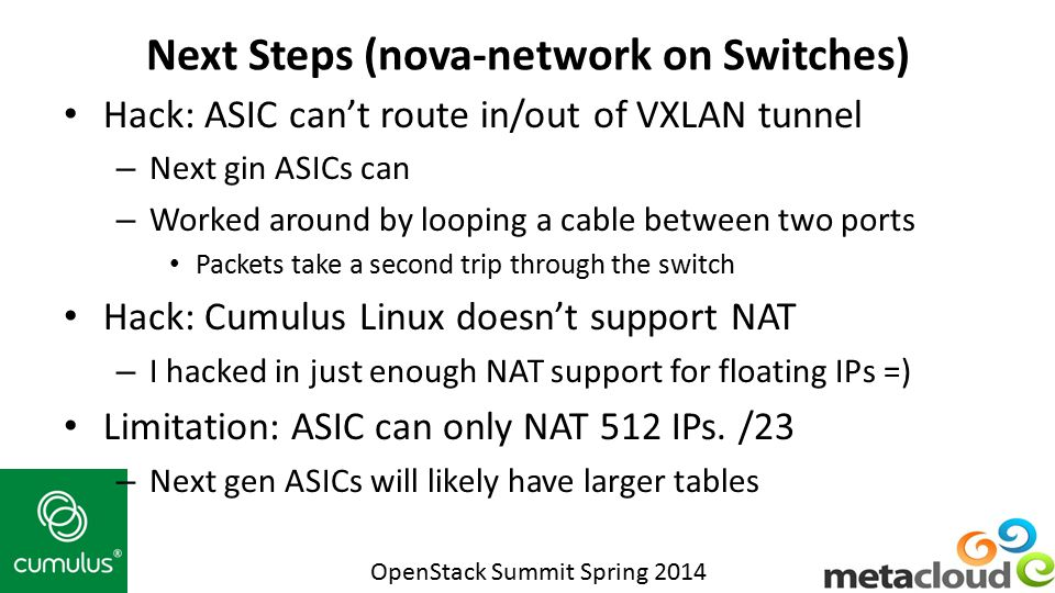 Next Steps (nova-network on Switches)