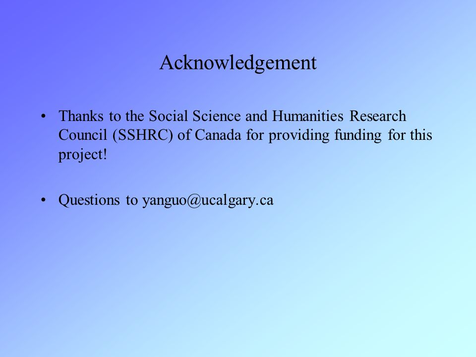 Acknowledgement Thanks to the Social Science and Humanities Research Council (SSHRC) of Canada for providing funding for this project!