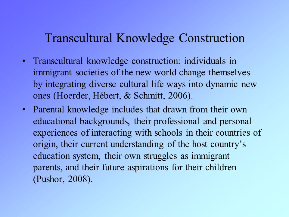 Transcultural Knowledge Construction