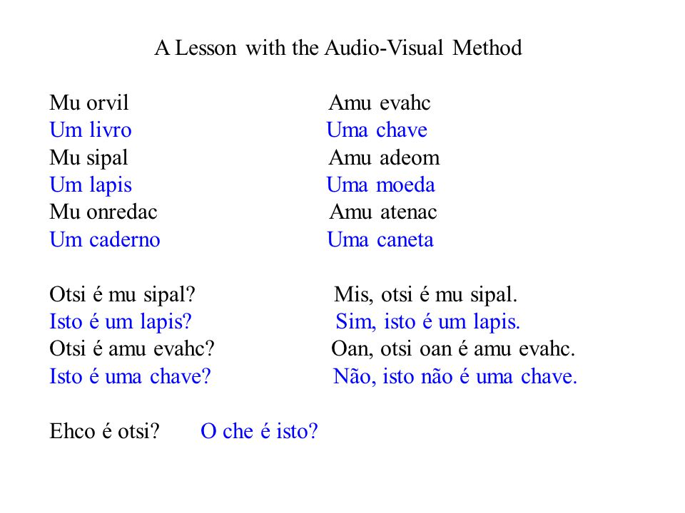 A Lesson with the Audio-Visual Method