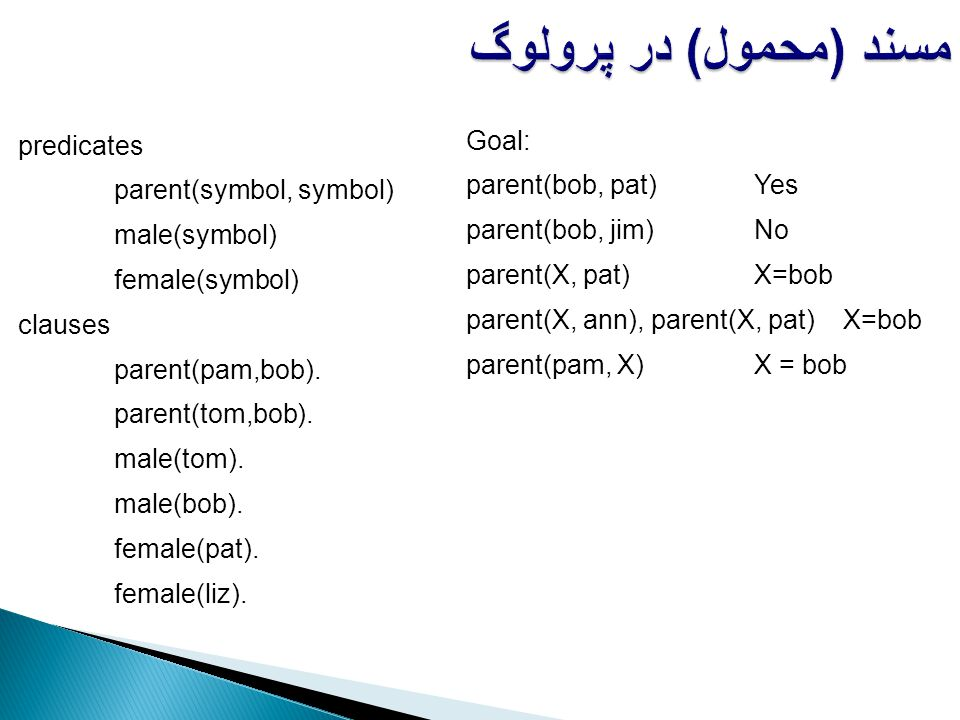 مسند (محمول) در پرولوگ Goal: predicates parent(bob, pat) Yes