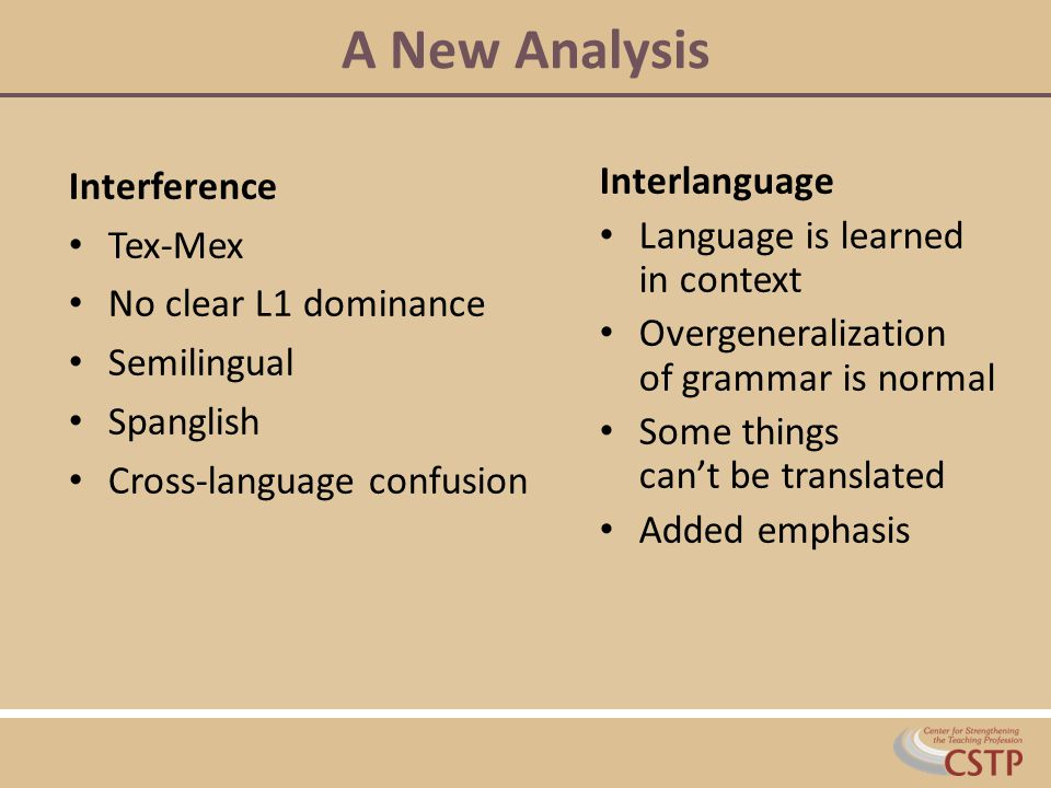 A New Analysis Interference Tex-Mex No clear L1 dominance Semilingual