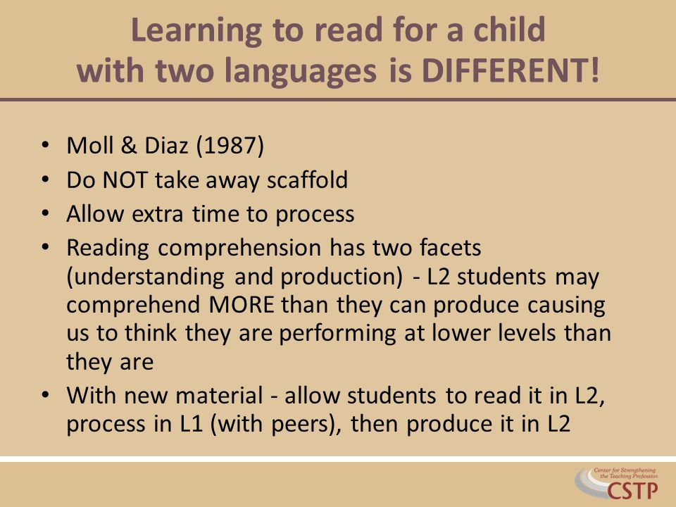 Learning to read for a child with two languages is DIFFERENT!