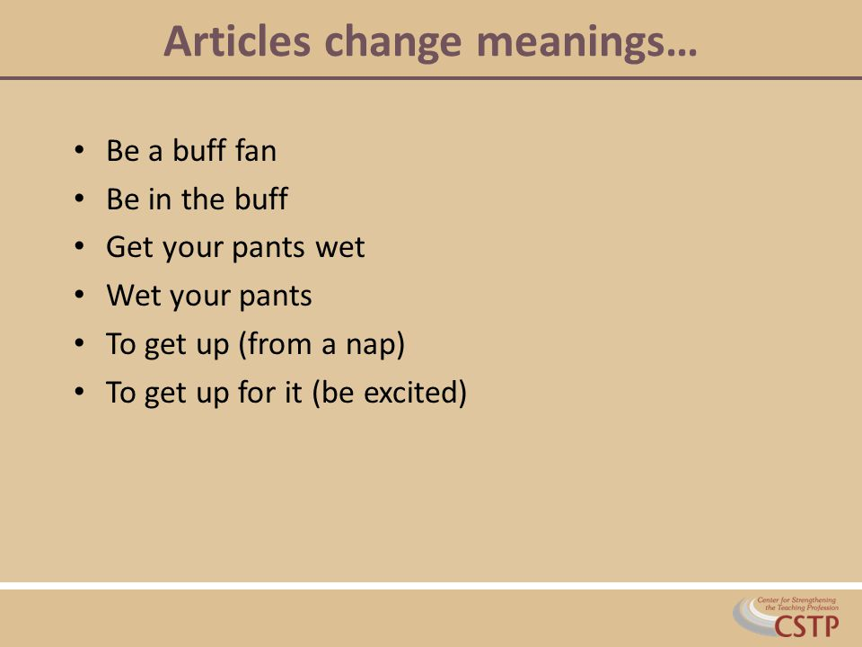 Articles change meanings…