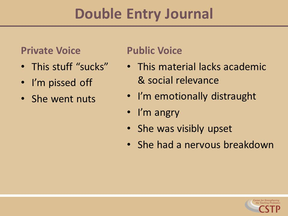 Double Entry Journal Private Voice This stuff sucks I'm pissed off