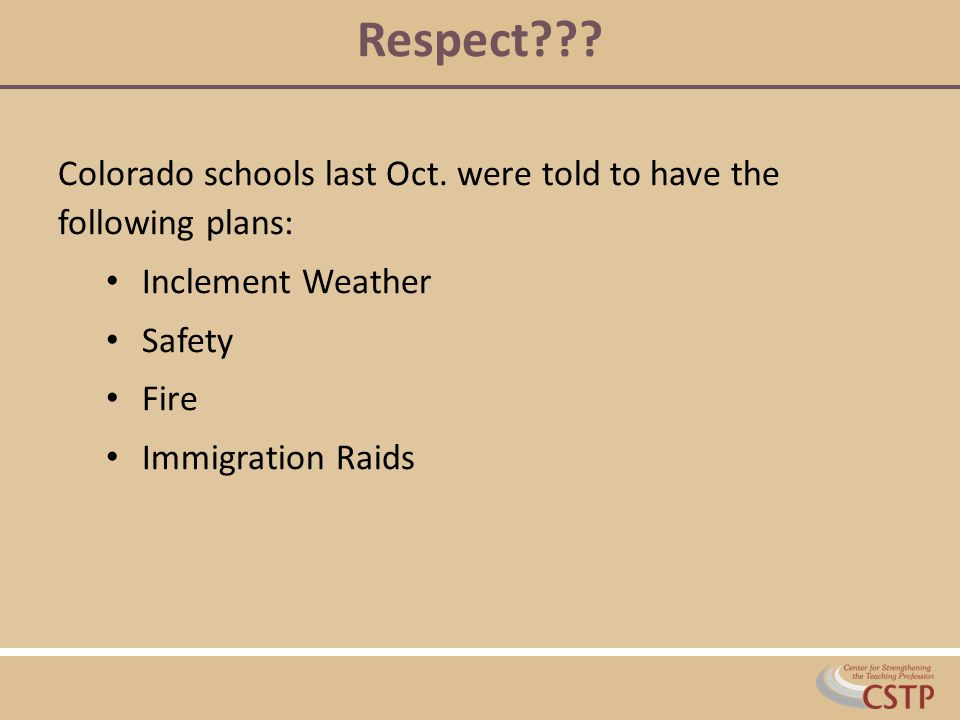 Respect Colorado schools last Oct. were told to have the following plans: Inclement Weather. Safety.