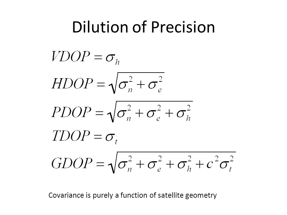 Dilution of Precision Covariance is purely a function of satellite geometry
