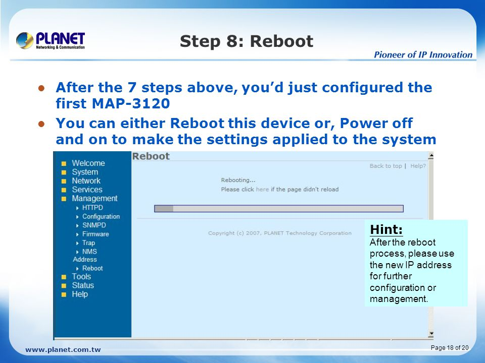 Click on Reboot to restart the device