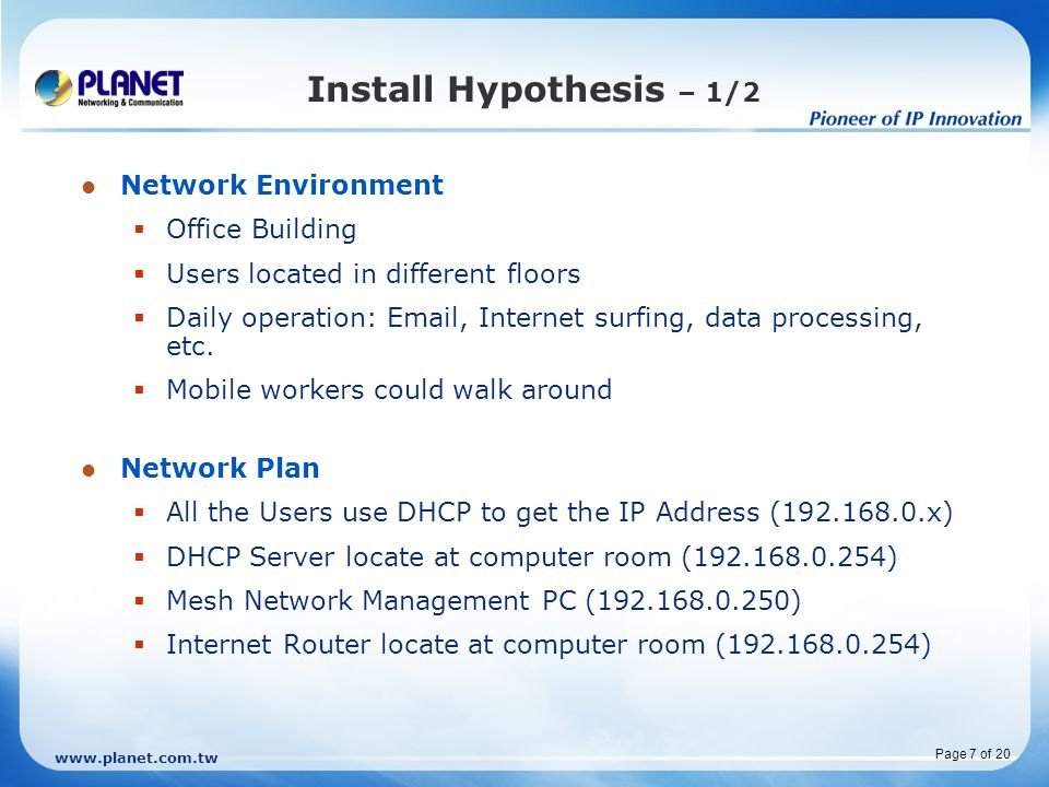 Install Hypothesis – 1/2 Network Environment Office Building