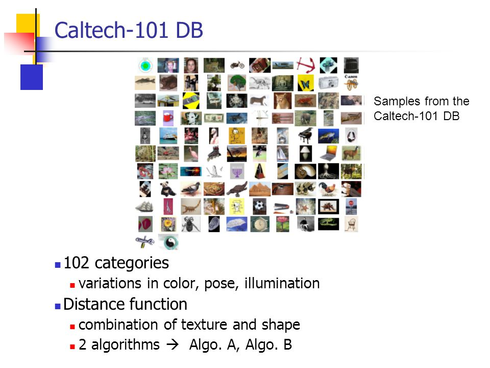 Caltech-101 DB 102 categories Distance function