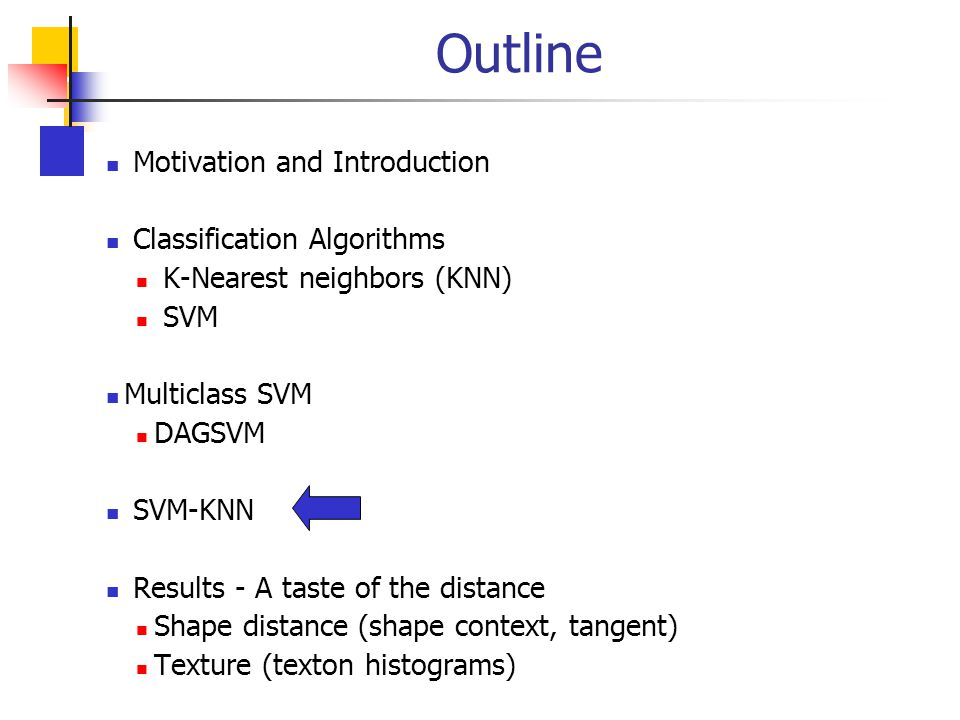 Outline Motivation and Introduction Classification Algorithms