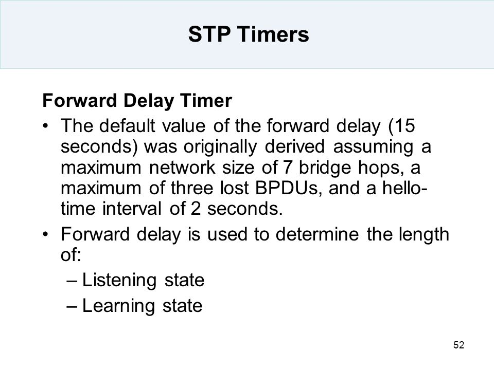 STP Timers Forward Delay Timer
