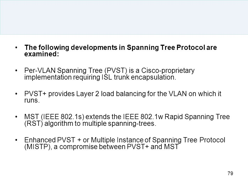 The following developments in Spanning Tree Protocol are examined: