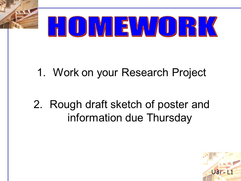 Work on your Research Project