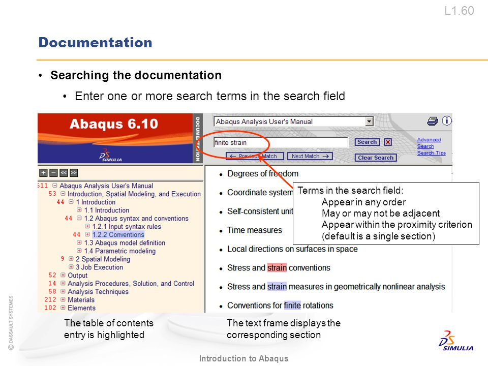 Documentation Searching the documentation