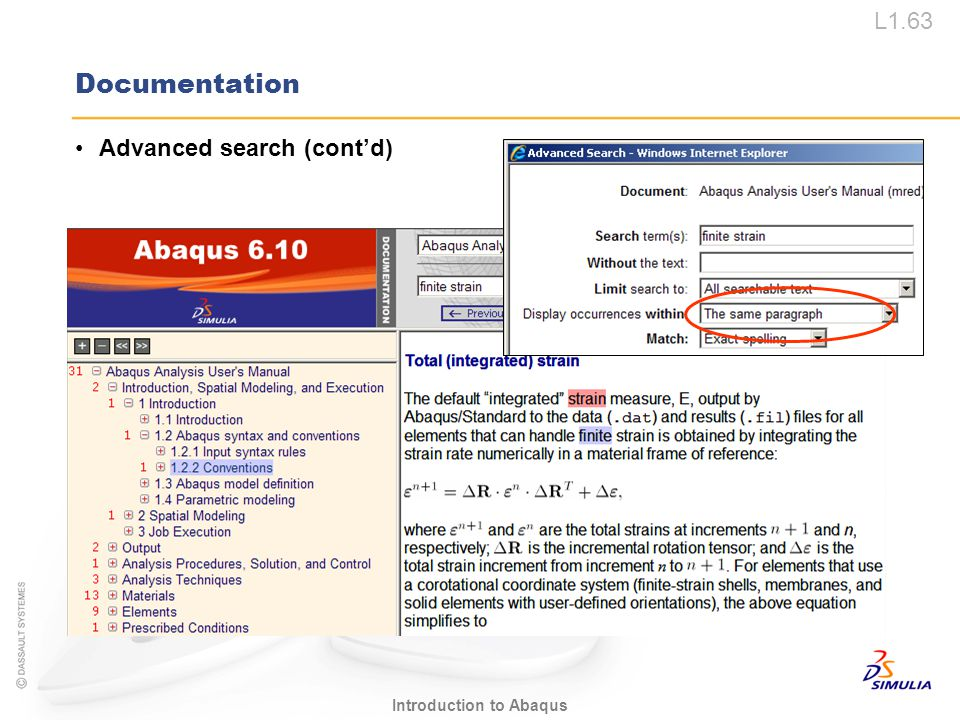 Documentation Advanced search (cont'd)