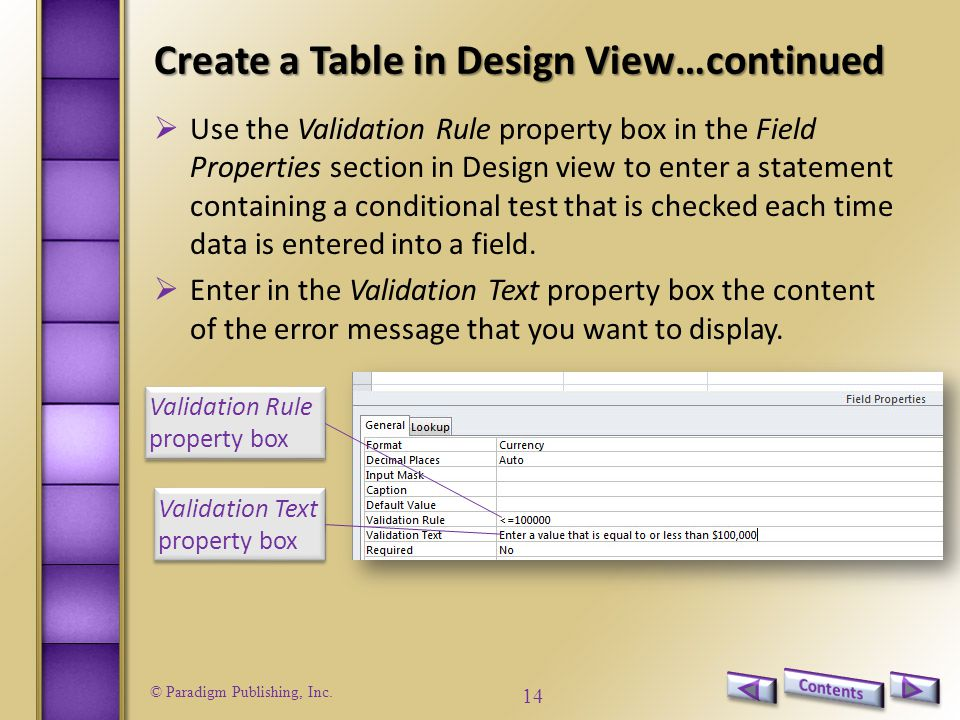 Create a Table in Design View…continued