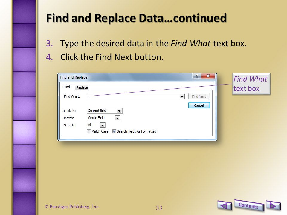 Find and Replace Data…continued