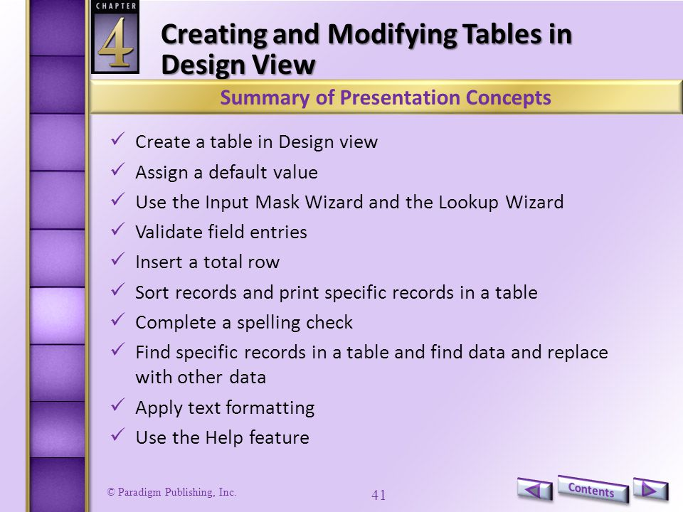 Creating and Modifying Tables in Design View