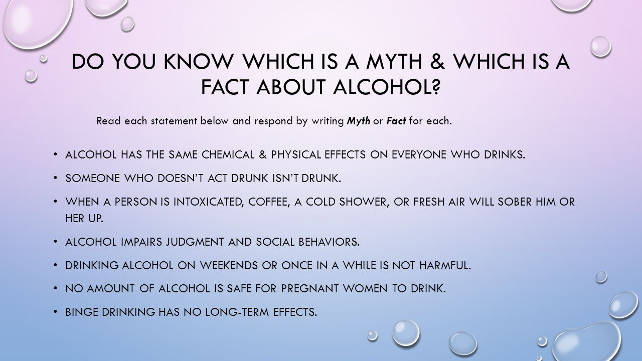 Do you know which is a myth & which is a fact about alcohol