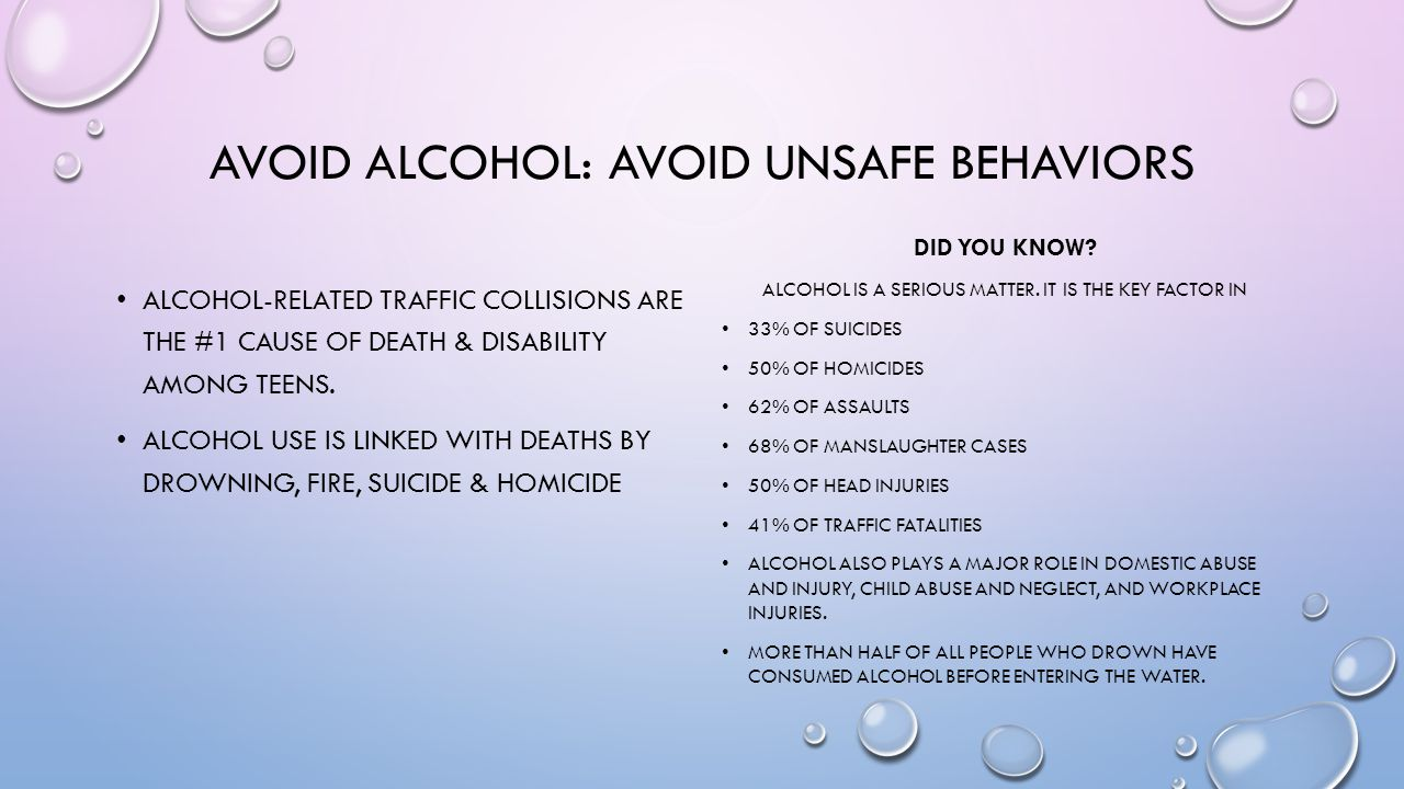 Avoid alcohol: avoid unsafe behaviors
