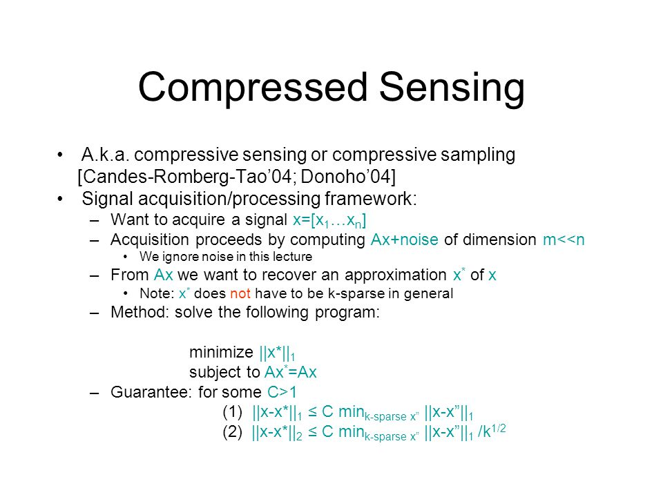 Compressed Sensing A.k.a. compressive sensing or compressive sampling