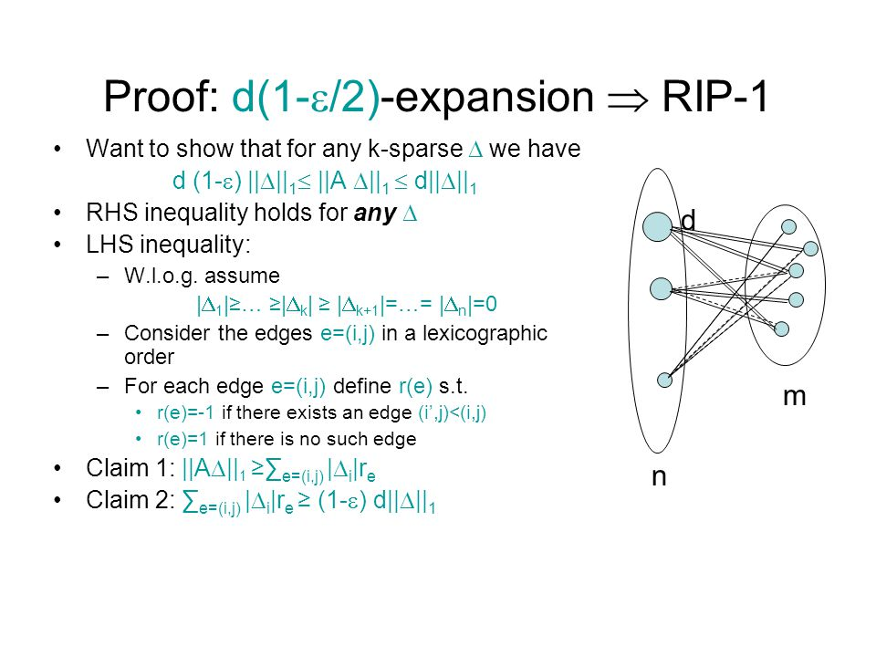 Proof: d(1-/2)-expansion  RIP-1