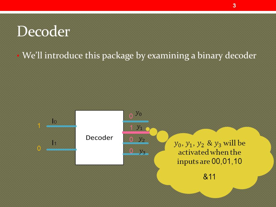 Decoder We'll introduce this package by examining a binary decoder