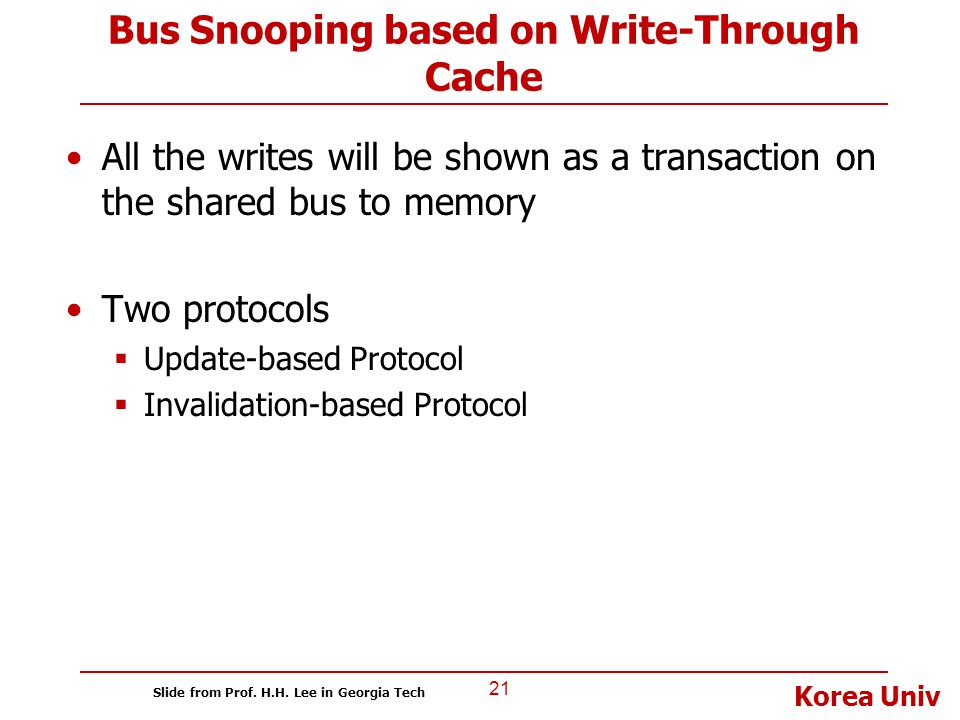 Bus Snooping based on Write-Through Cache
