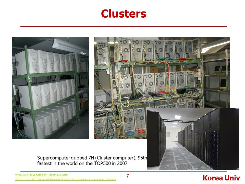 Clusters Supercomputer dubbed 7N (Cluster computer), 95th fastest in the world on the TOP500 in 2007.