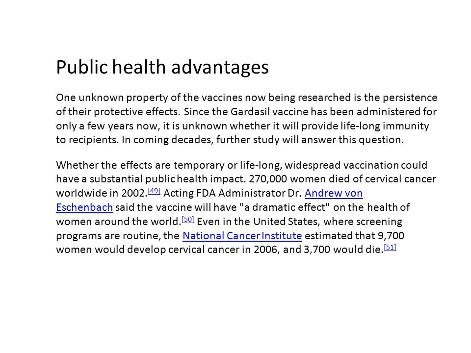 Public health advantages
