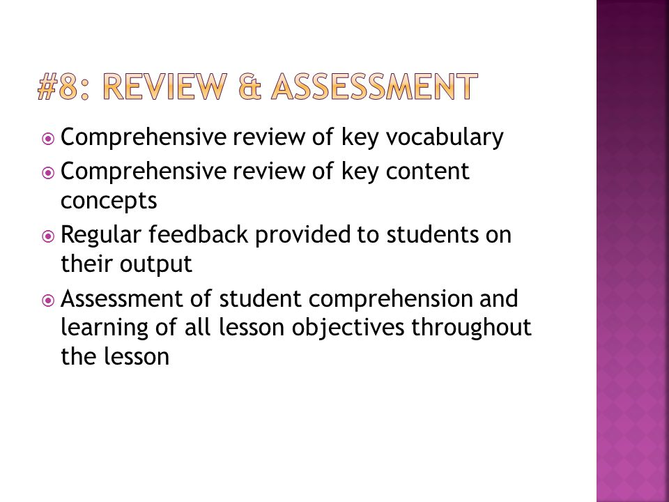 #8: Review & Assessment Comprehensive review of key vocabulary