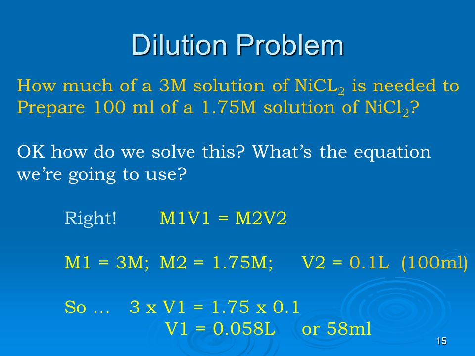 Dilution Problem How much of a 3M solution of NiCL2 is needed to