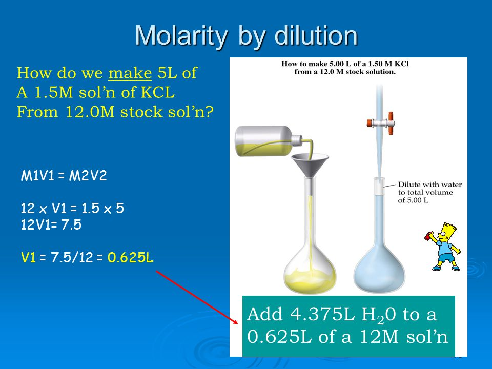 Molarity by dilution Add 4.375L H20 to a 0.625L of a 12M sol'n