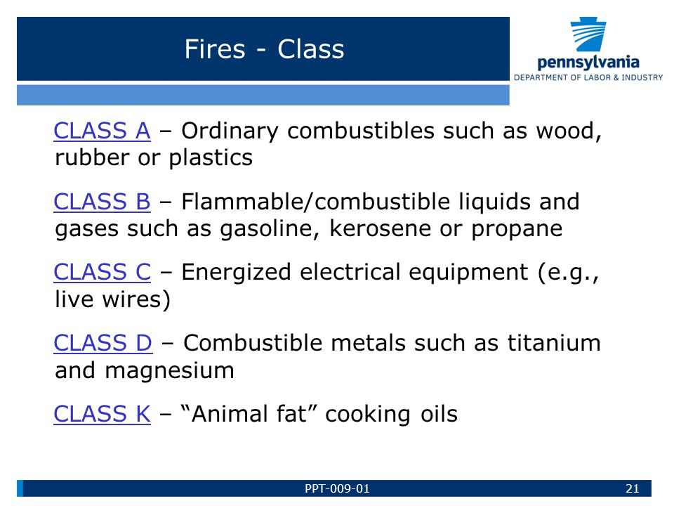 Fires - Class CLASS A – Ordinary combustibles such as wood, rubber or plastics.