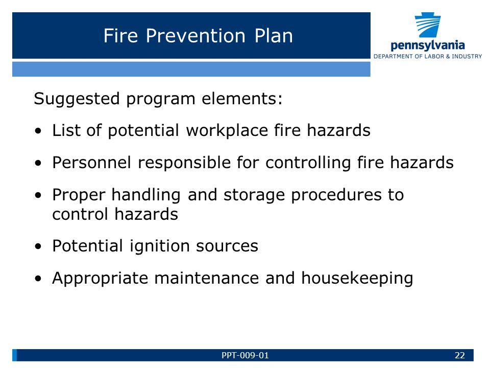 Fire Prevention Plan Suggested program elements: